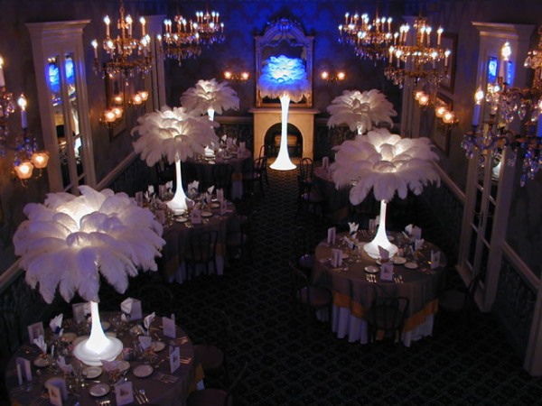 Tower of feathers wedding and event table centrepieces